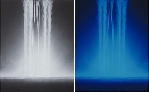 falling water<br/>[second image: under ultraviolet light] by hiroshi senju